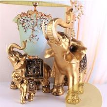 Casa presente de ouro resina elefante estátua lucky feng shui elegante elefante tronco estátua sorte riqueza estatueta artesanato ornamentos