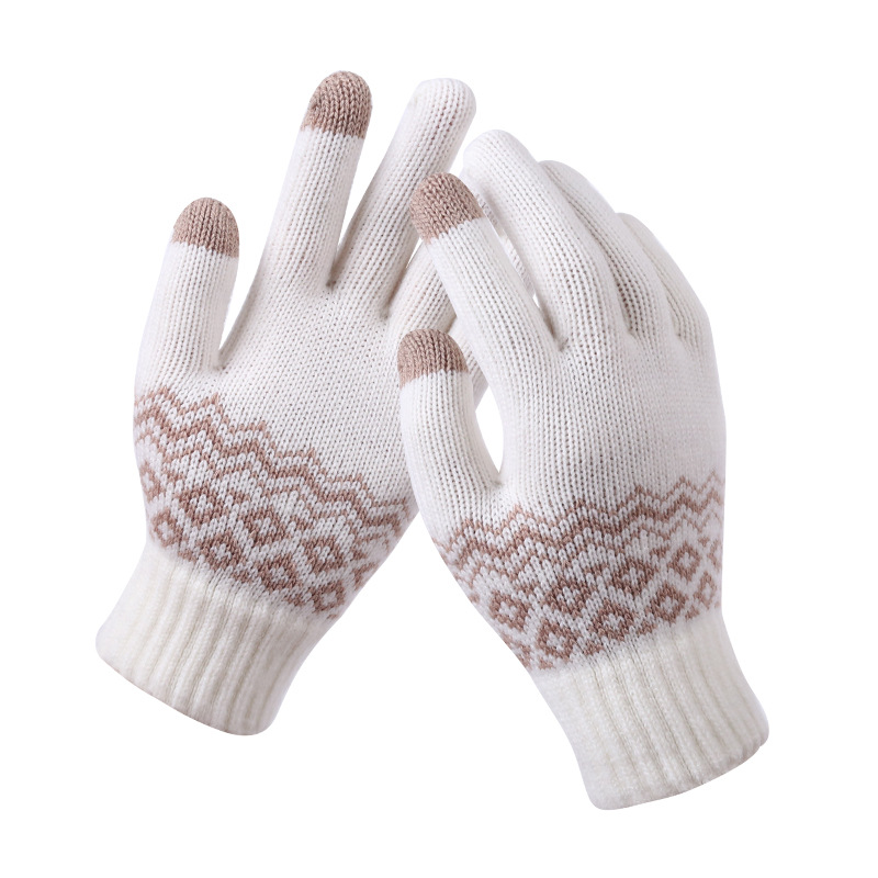 Winter Gloves Women Warm Touch Screen Gloves Kitted Woolen Mittens New Men Women Cashmere Geometric Crinkle Touch Luvas Gifts