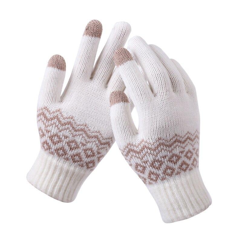 Winter Gloves Women Warm Touch Screen Gloves Kitted Woolen Mittens New Men Women Cashmere Geometric Crinkle Touch Luvas Gifts
