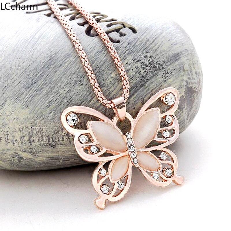 Женское ожерелье с подвеской-бабочкой из розового золота, длинная цепочка на свитер, модные ювелирные украшения