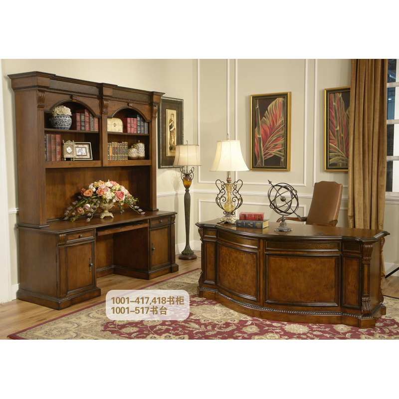 Luxury Wooden Bookcase Of Study Room Furniture Write Desk And Chair GF76
