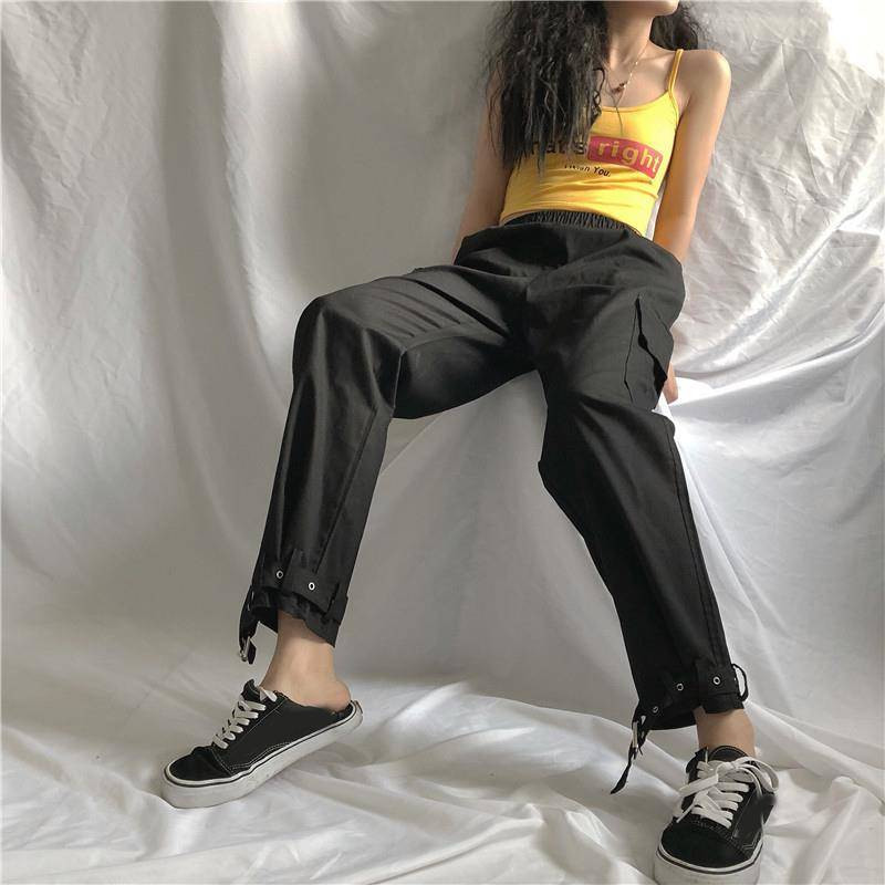 2019 Women cargo   pants   Casual Cotton elastic wasit trousers streetwear punk cargo   pants   women   capris   loose Punk joggers trousers
