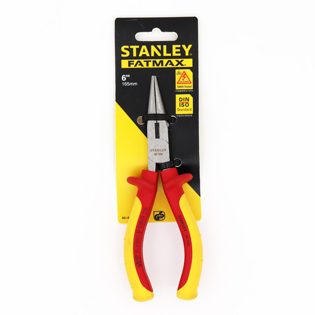 Stanley 1-pcs VDE 1000V Insulated Long Nose Pliers With Cutter 1000 Volt Electrical Hand Tools Electricians Work FatMax 1