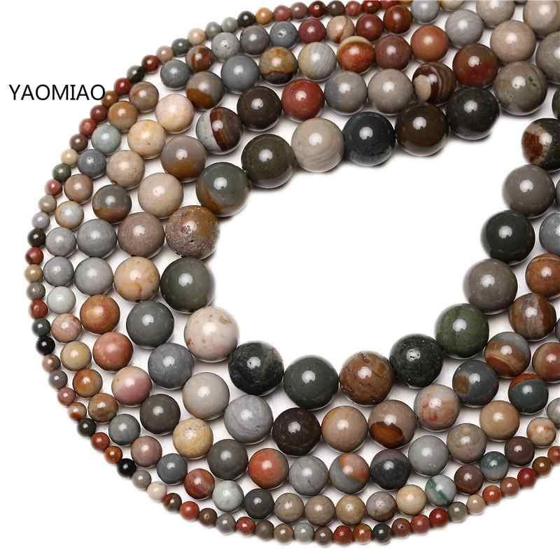4-12 Mm Alam Batu Manik-manik Bahasa Polandia Picasso Batu Bulat Longgar Beads untuk Perhiasan Membuat Manik-manik 15 Inci