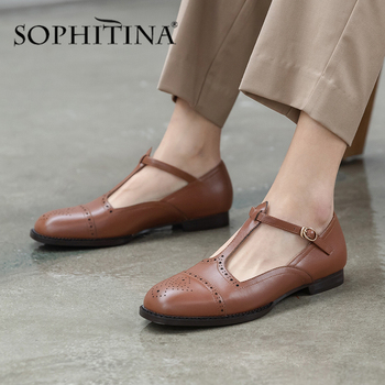 SOPHITINA Sweet Women Flats T-Tied Buckle Polka Dot Decoration High Quality Cow Leather Round Toe Shoes Comfortable Flats PO475