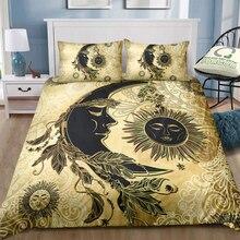 Juego de ropa de cama de lujo Luna y sol Vintage edredón dorado Queen King Individual Doble completo conjunto de cama cómoda