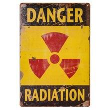 Sinal de perigo-radiação de perigo aliado militar vintage estanho sinal-ao ar livre sinais engraçados