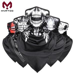Pasamontañas triangular de cráneo fantasma protección Tipo mascarilla para motocicleta, para cuello polaina, bufanda de tubo, Bandana para Moto, diadema para protección de cabeza para hombre