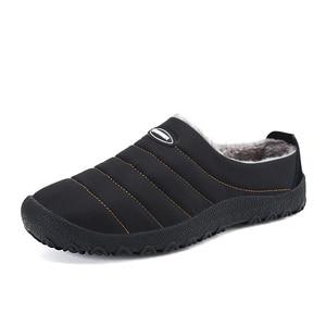 Image 4 - Winter Men Shoes Warm Plush Slippers Men Outdoor Indoor Home Shoes Unisex Flip Flops Non slip Slides Casual Mule chanclas hombre