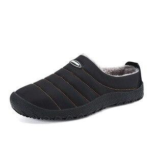 Image 4 - Zimowe męskie buty ciepłe klapki pluszowe mężczyźni odkryty kapcie domowe Unisex klapki antypoślizgowe slajdy Casual Mule chanclas hombre
