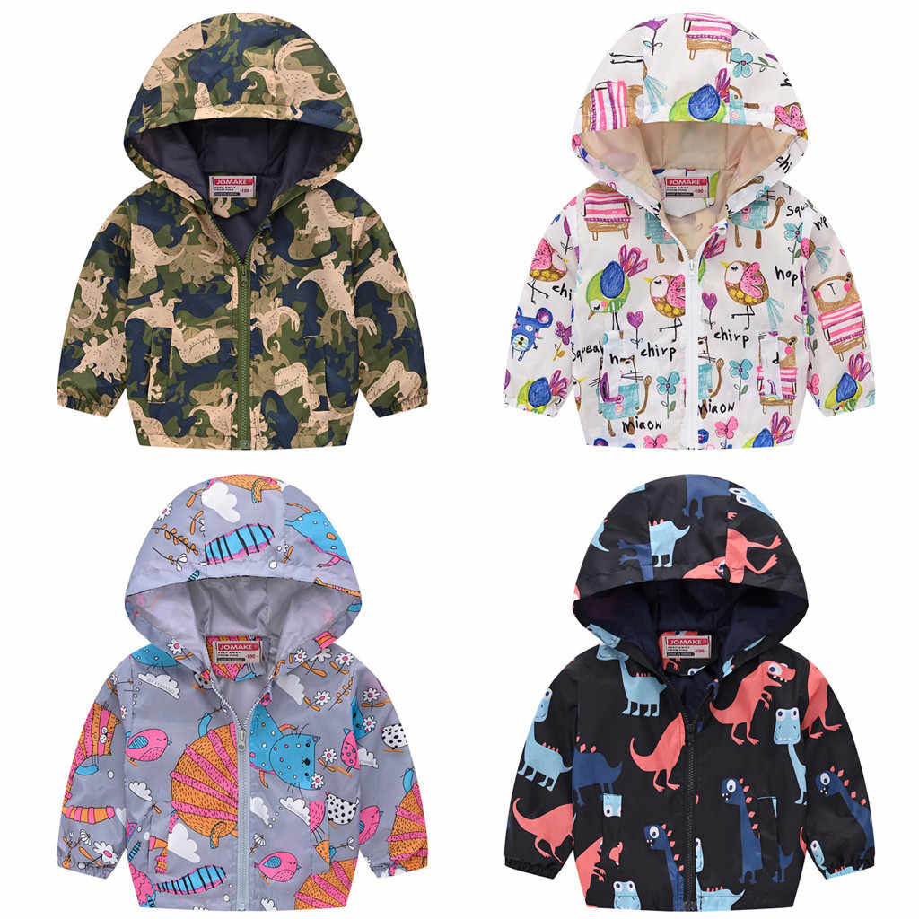 Children Spring Autumn Jacket For Girls Boys Long Sleeve Thin Hooded 12M-5Y Boy Girl Cartoon Printed Zipper  Coat Windbreaker