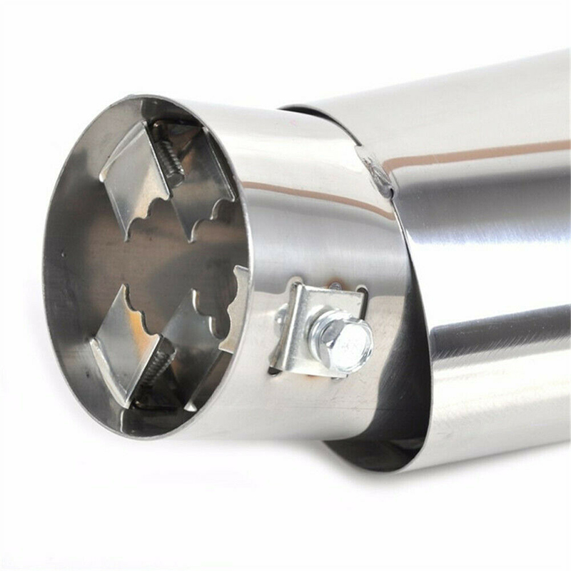 1pc New Car Round Stainless Steel Chrome Exhaust Tail Muffler Silver Tip Pipe high quality car Tail Pipe Car Accessories in Mufflers from Automobiles Motorcycles
