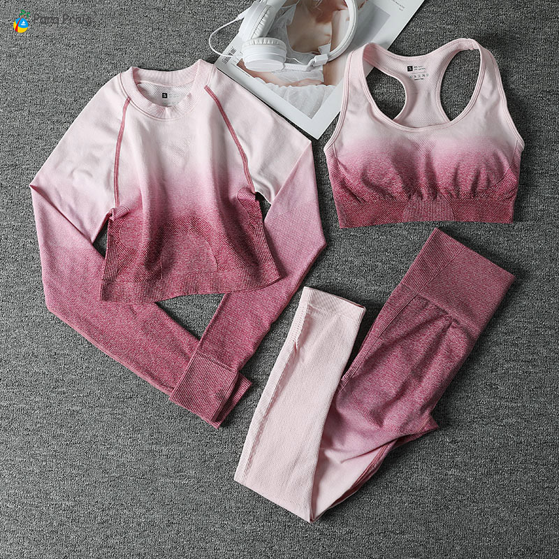 2020 Gradient Yoga Set Gradient Sportswear Breathable Running Suit Fitness Clothing Women Gym Leggings Workout Clothes 3 Pcs/Set