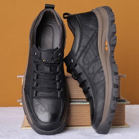 Nova Marca Masculina Sapatos Casuais Primavera Split Couro Grosso Buttom Wear-resistant Estilo Britânico Moda Sapato