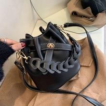 Balde saco feminino 2021 designer de luxo senhora ombro cruz corpo sacos do sexo feminino vintage couro pu corda arco bolsas bolsas preto