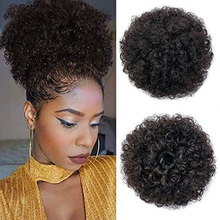 African puff curly ponytail bun hair accessories fluffy short black Synthetic Buns For Black Woman
