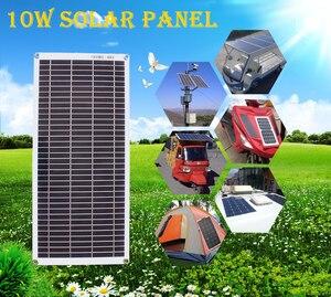 Image 5 - ألواح الطاقة الشمسية المحمولة شبه مرنة 10 واط 18 فولت مع كابل تيار مستمر 5521 لسيارة 12 فولت