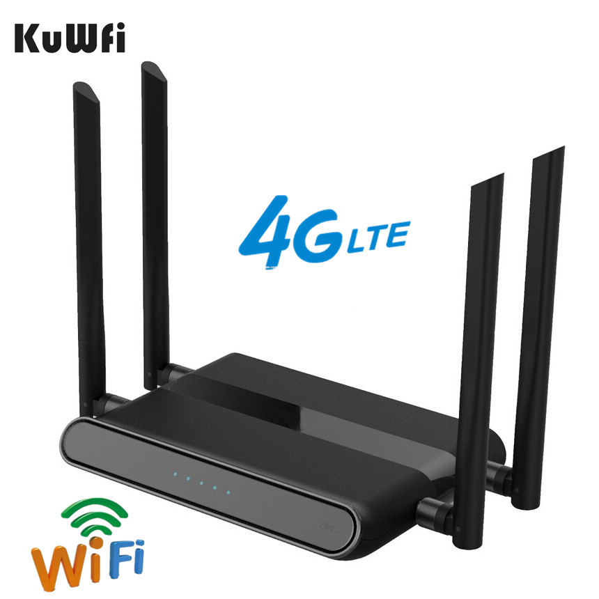 KuWFi 4G LTE Wifi Router 2.4G CAT4 150Mbps 4G LTE FDD/TDD CPE Router Wireless AP With 4*5dBi Antenna Dual Sim Card Slot