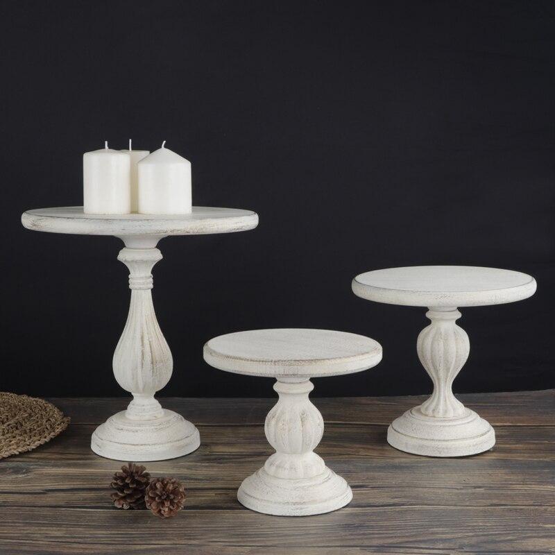 Plateau à dessert en bois fête d'anniversaire   Décoration de table, support de présentation de gâteau de mariage vintage blanc ivoire