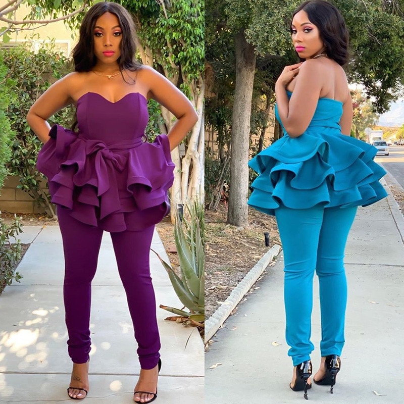 Elegant Ruffles 2 Piece Set Women Off Shoulder Strapless Top And Pencil Pants Legging Sexy Night Party Club Two Piece Outfits