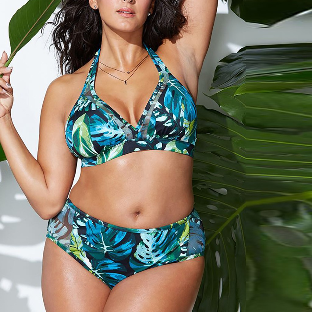 Plus Size Bandage Printing Bikini Set Two Pieces Push Up Filled Bra Swimwear Beach Bathing Swimming Beachwear купальник слитный