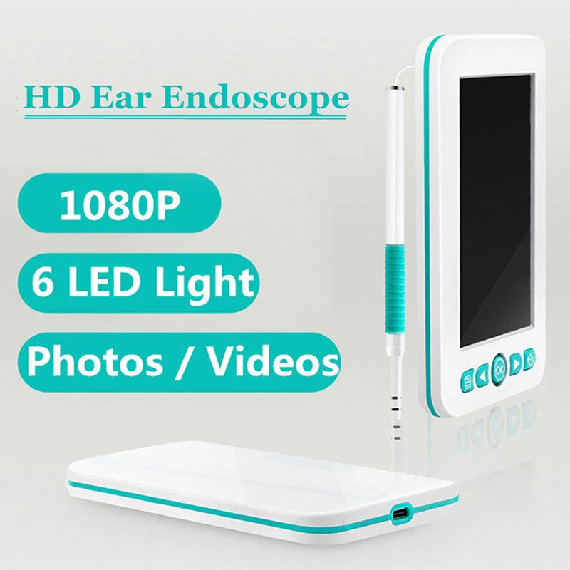 5.5 Mm Otoscope Medical 1080P Ear Scope Camera HD Earwax Endoscope Inspect Cam Ear Care Cleaning Tools Set With 4.3 Inch Screen
