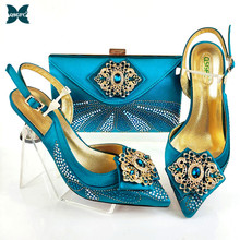 Ladies Shoes Teal-Color Italian-Design Rhinestone-Style Wedding New-Fashion And Party