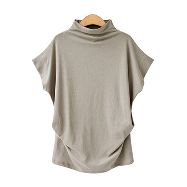 Blusa informal de algodón con manga corta de murciélago para Jocoo Jolee, Camisa lisa de talla grande para mujer, 2020 2