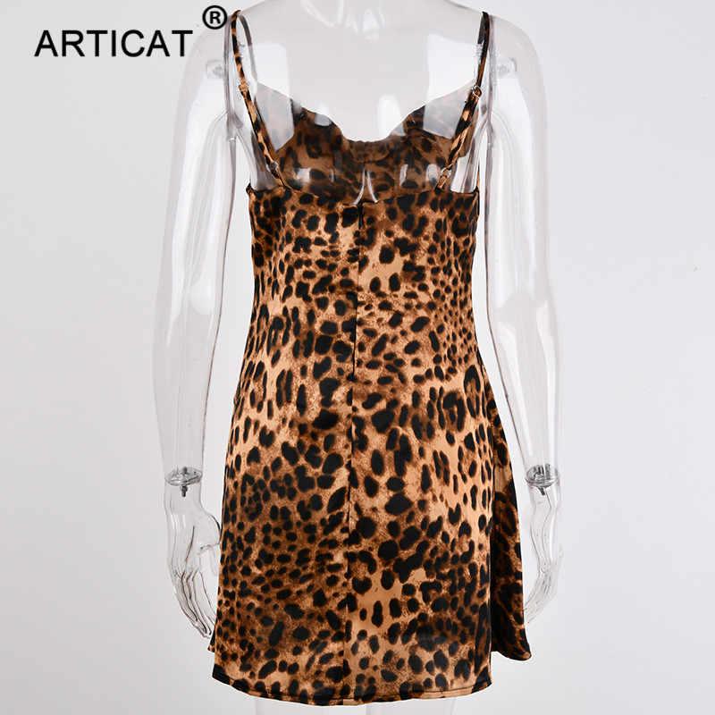 Articat Spaghetti Strap Leopard Print Sexy Party Dress Women V Neck Backless Short Summer Dress Loose Mini Casual Beach Dress