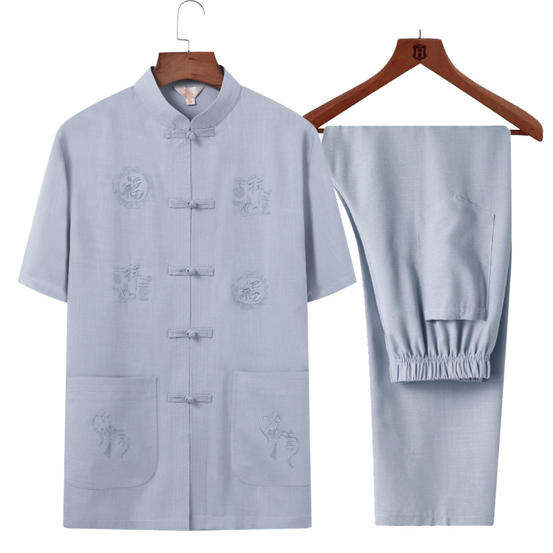 Men Chinese Costume Summer Short-sleeved Old Man Clothes Grandpa-Flax Set Middle Aged And Elderly People Chinese-style Dad Summe