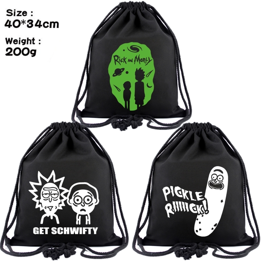 Rick And Morty Canvas Drawstring Bags Pickle Rick Backpack Women Cosmetic Container Cartoon Beach Bag Shoes Pouch Stringbag