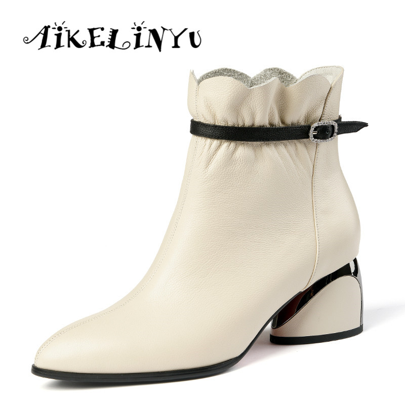 AIKELINYU Hot Sale Women Boots New Fashion Shoes Woman Genuine Leather Black Ankle Boots Fashion Winter Warm Square Heel Boots in Ankle Boots from Shoes