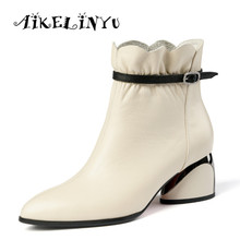 AIKELINYU Hot Sale Women Boots New Fashion Shoes Woman Genuine Leather Black Ankle Winter Warm Square Heel