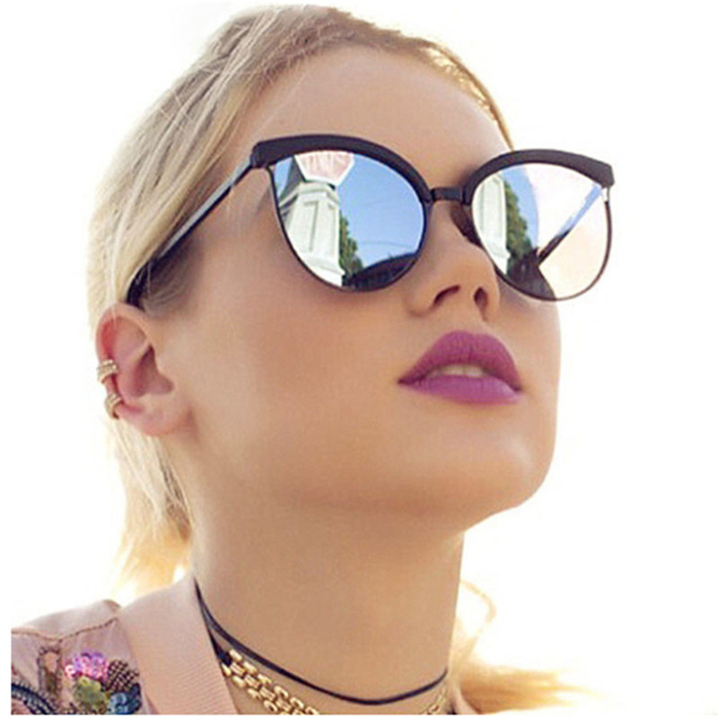 AOXUE Luxurious Brand Designer Round Sunglasses Women Vintage Metal Reflective Red Cat Eye Sun Glasses Mirror Shades Retro UV400 image