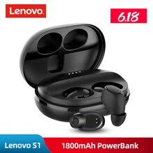 Lenovo s1 tws fones de ouvido, fones de ouvido, originais, bluetooth, mãos livres, à prova d água ipx5 v5.0, stereo, esportivo, com microfone