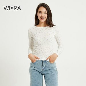 Wixra Women O-neck T-Shirt Tops Long Sleeve Floral Print Slim Tee Tops For Ladies Streetwear New Summer Autumn