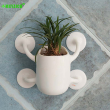 Wall-mounted Plastic Flower Pot Smiley Sucker Flower Pot Doll Model Flower Arrangement Container Home Decoration Accessories