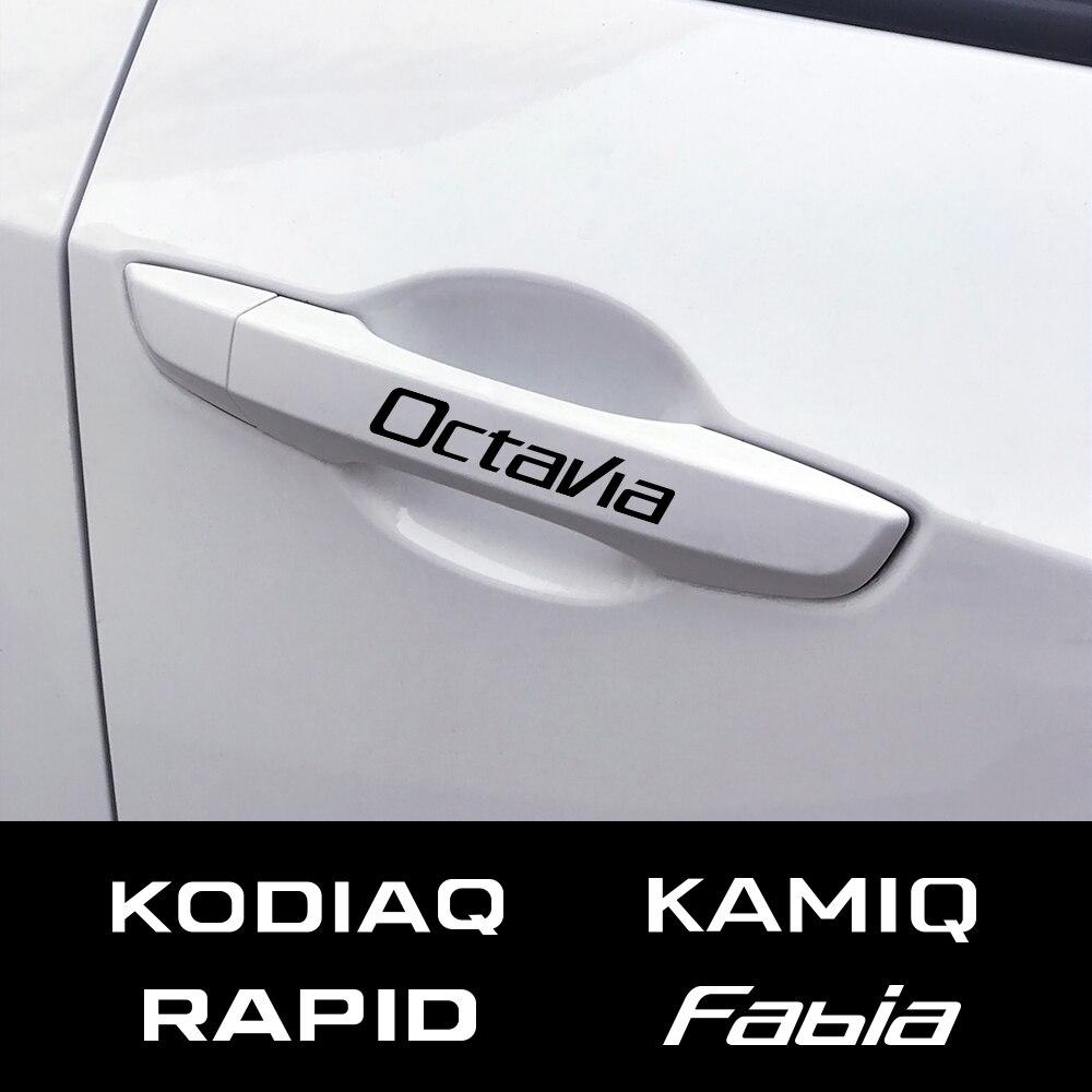 4PCS Auo Door Handle Sticker Car Decal For Skoda Octavia 2 A7 A5 VRS Fabia 3 Rapid Superb 3 Kodiaq Scala Karoq Kamiq Accessories