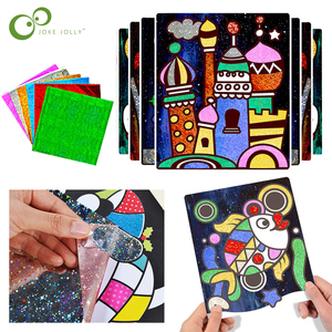 9Pcs Children Shining Magic Color Paper DIY Art Craft Toy Kids Creative Stickers Drawing Handmade Scratching Paper Toy GYH