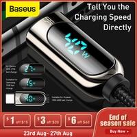Baseus LED Display USB tipo C cavo per Xiaomi 10 Huawei Samsung 5A ricarica rapida caricabatterie USBC USB-C cavo dati tipo-c cavo