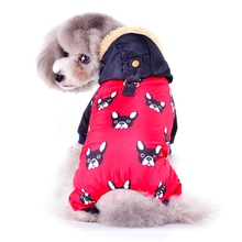 New French Bulldog Costumes For Dog Winter Warm Snow Down Jacket Coat For Puppies Small Medium Animal Pugs Pet Cat Clothes Goods