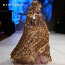 Детские платья для вечерние ринки, свадебное платье, великолепное платье с золотыми блестками, детское Пышное Платье для девочек, платье пр...