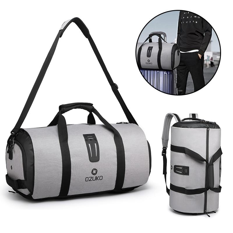OZUKO Men's Multifunctional Travel Bag Suit Storage Tote Bag Large Capacity Outdoor Waterproof Duffel Bag Built-in Shoe Bag