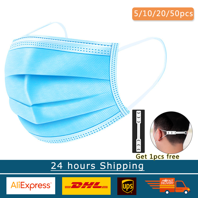 20/50/100pcs Disposable Face Masks 3 Layes Anti-Pollution Mask Dustproof Protection One Time Nose Mouth Mask Mascarilla