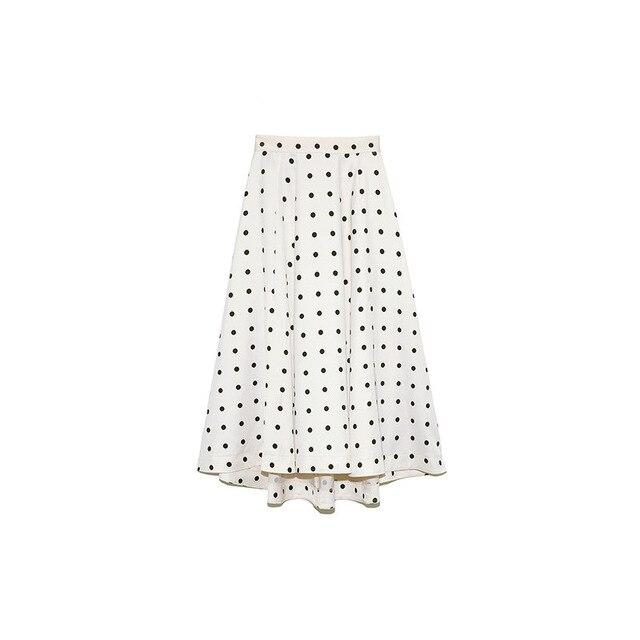 Neploe Elegant French Style Chic Polka Dot Women Skirts 2021 Autumn Winter New All-match Jupe High Waist Zip A-line Femme Skirt 6