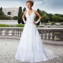 Vestido De Novia Vintage Lace-up Back Halter Sexy Wedding Dress Vernassa Robe Mariage Cheap Bridal Gowns 2015 Fast Shipping
