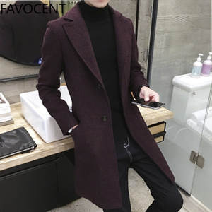 Men Coats Wool Trench Long-Top Autumn Casual Fashion 5XL Thick Spring Lapel Warm Plus-Size
