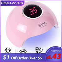36W Professional USB Nail Dryer UV LED Lamp Smart Sunlight Curing All Gel Polish Non-harmful Fast Dry Nail Art Machine BESTAR6