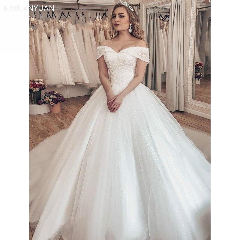 Vestido Noiva 2020 Sparkly Crystal Wedding Dress Off The Shoulder Bridal Ball Gown Luxury Brautkleid Robe De Mariage