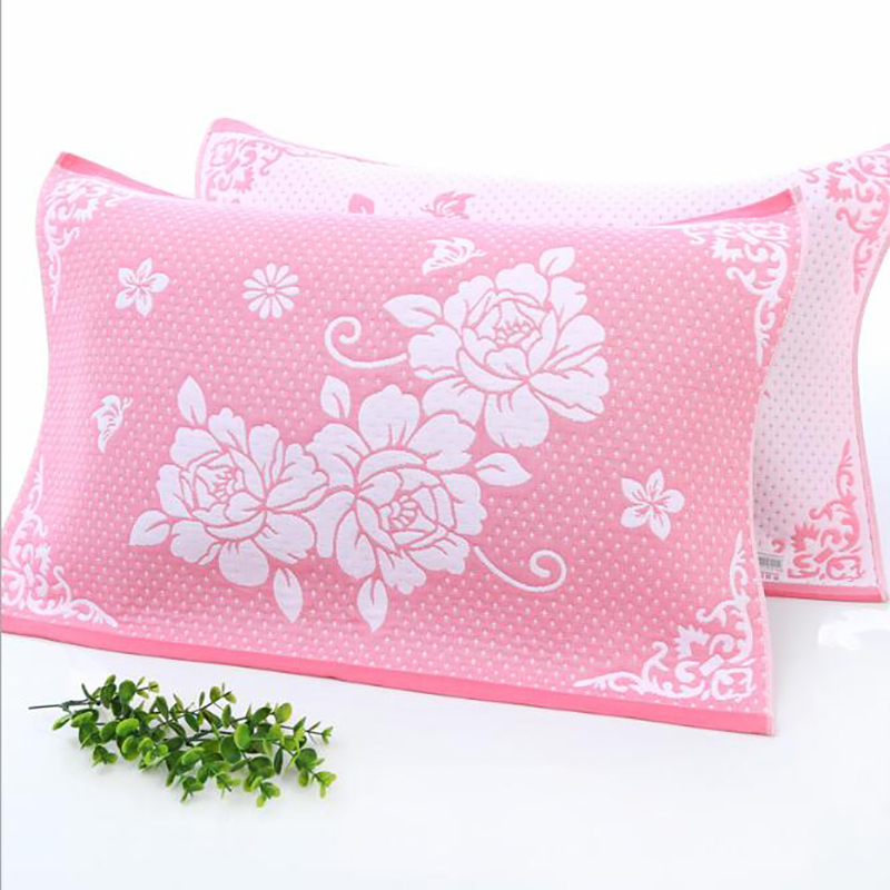 Peony Printed Cotton Pillow Towel Gauze Cotton Fabric Single Layer Pillowcase Cover Home Bedroom Pillow Towel